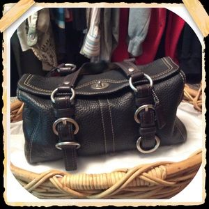 Coach Pebbled Leather Turnlock Handbag